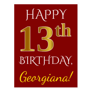 Red, Faux Gold 13th Birthday + Custom Name Postcard