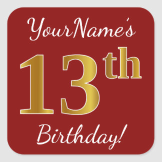 Red, Faux Gold 13th Birthday + Custom Name Sticker