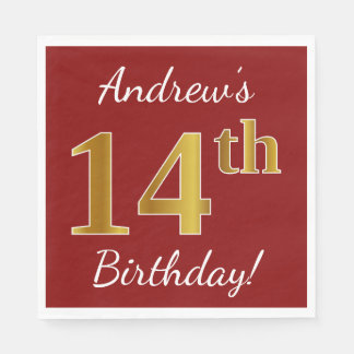 Red, Faux Gold 14th Birthday + Custom Name Disposable Napkins
