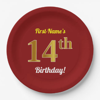 Red, Faux Gold 14th Birthday + Custom Name Paper Plate