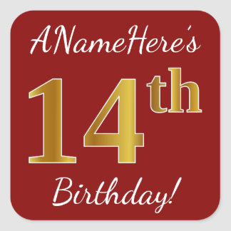 Red, Faux Gold 14th Birthday + Custom Name Sticker
