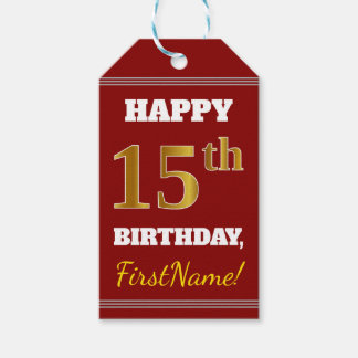 Red, Faux Gold 15th Birthday + Custom Name Gift Tags