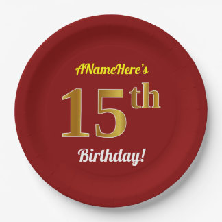 Red, Faux Gold 15th Birthday + Custom Name Paper Plate