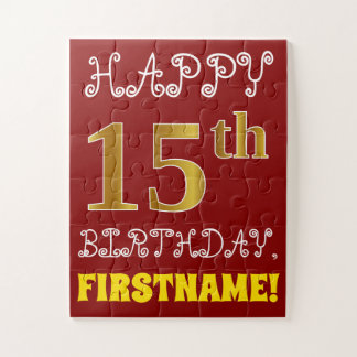 Red, Faux Gold 15th Birthday + Custom Name Puzzle