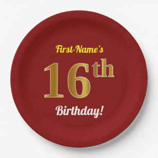 Red, Faux Gold 16th Birthday + Custom Name Paper Plate