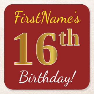 Red, Faux Gold 16th Birthday + Custom Name Square Paper Coaster