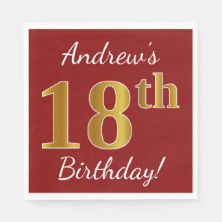 Red, Faux Gold 18th Birthday + Custom Name Paper Napkin
