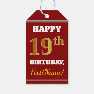 Red, Faux Gold 19th Birthday + Custom Name Gift Tags