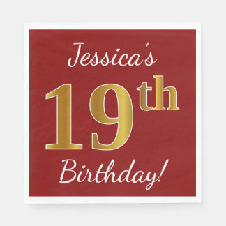 Red, Faux Gold 19th Birthday + Custom Name Paper Napkin