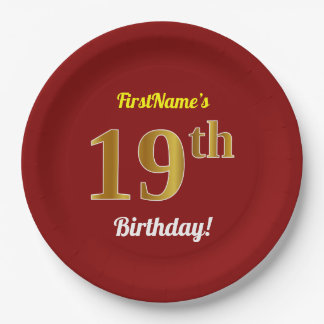 Red, Faux Gold 19th Birthday + Custom Name Paper Plate