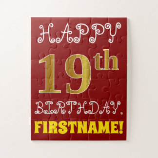 Red, Faux Gold 19th Birthday + Custom Name Puzzle