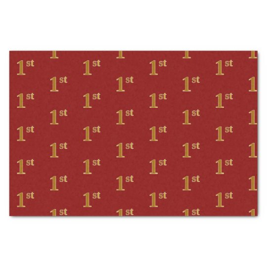 Red, Faux Gold 1st (First) Event Tissue Paper