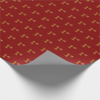 Red, Faux Gold 1st (First) Event Wrapping Paper