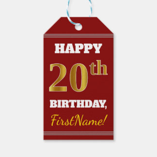 Red, Faux Gold 20th Birthday + Custom Name Gift Tags