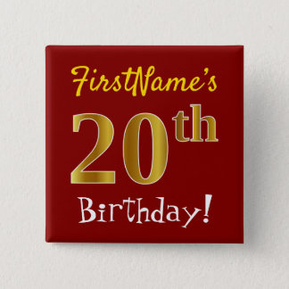 Red, Faux Gold 20th Birthday, With Custom Name 2 Inch Square Button