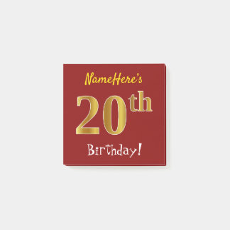 Red, Faux Gold 20th Birthday, With Custom Name Post-it Notes