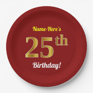Red, Faux Gold 25th Birthday + Custom Name Paper Plate
