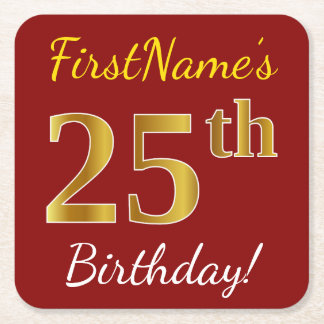 Red, Faux Gold 25th Birthday + Custom Name Square Paper Coaster