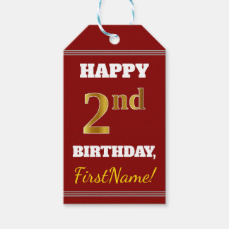 Red, Faux Gold 2nd Birthday + Custom Name Gift Tags