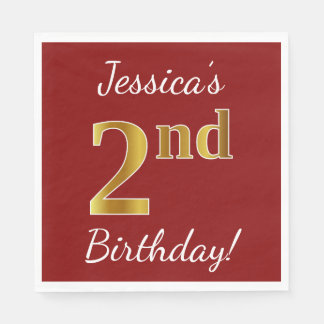 Red, Faux Gold 2nd Birthday + Custom Name Paper Napkin