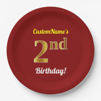 Red, Faux Gold 2nd Birthday + Custom Name Paper Plate