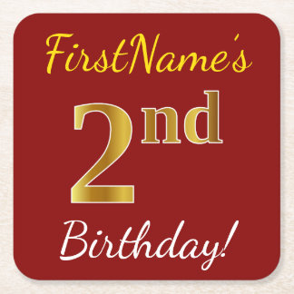 Red, Faux Gold 2nd Birthday + Custom Name Square Paper Coaster