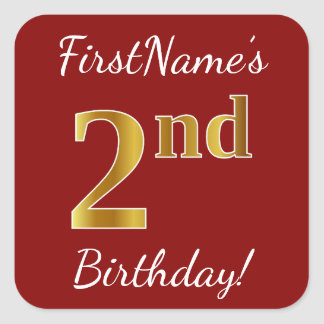 Red, Faux Gold 2nd Birthday + Custom Name Sticker