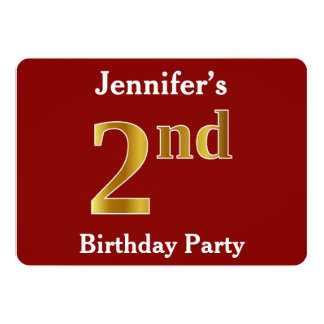 Red, Faux Gold 2nd Birthday Party + Custom Name Card