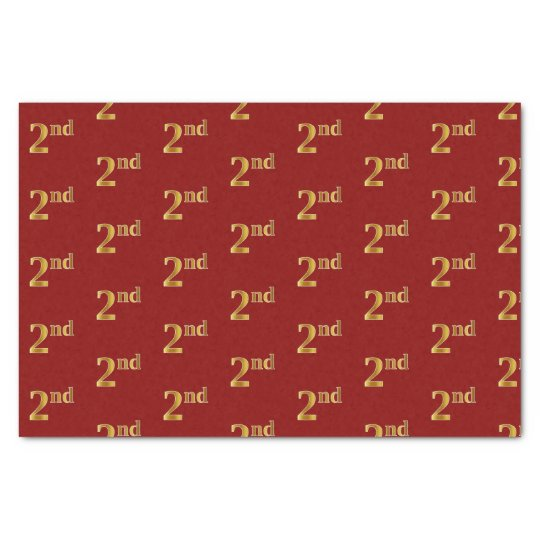 Red, Faux Gold 2nd (Second) Event Tissue Paper