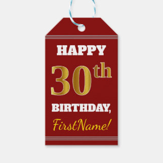 Red, Faux Gold 30th Birthday + Custom Name Gift Tags