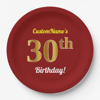 Red, Faux Gold 30th Birthday + Custom Name Paper Plate