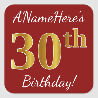 Red, Faux Gold 30th Birthday + Custom Name Sticker