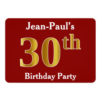 Red, Faux Gold 30th Birthday Party + Custom Name Card