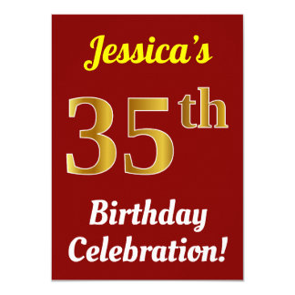Red, Faux Gold 35th Birthday Celebration + Name Card