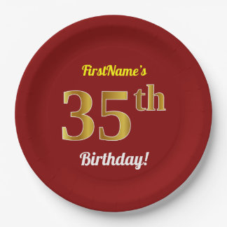 Red, Faux Gold 35th Birthday + Custom Name Paper Plate