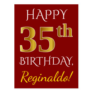Red, Faux Gold 35th Birthday + Custom Name Postcard