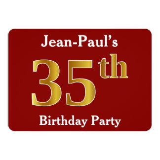 Red, Faux Gold 35th Birthday Party + Custom Name Card