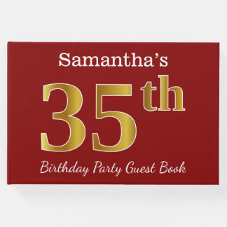 Red, Faux Gold 35th Birthday Party + Custom Name Guest Book