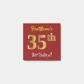 Red, Faux Gold 35th Birthday, With Custom Name Post-it Notes
