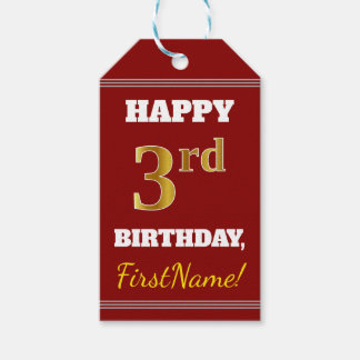 Red, Faux Gold 3rd Birthday + Custom Name Gift Tags