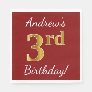 Red, Faux Gold 3rd Birthday + Custom Name Paper Napkin