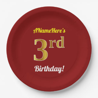 Red, Faux Gold 3rd Birthday + Custom Name Paper Plate