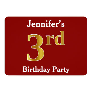 Red, Faux Gold 3rd Birthday Party + Custom Name Card