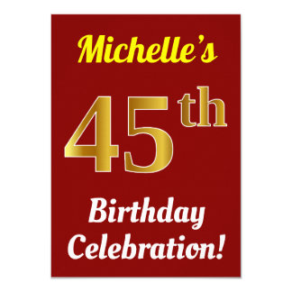 Red, Faux Gold 45th Birthday Celebration + Name Card