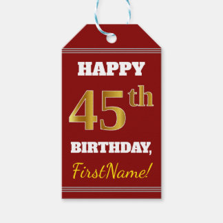 Red, Faux Gold 45th Birthday + Custom Name Gift Tags