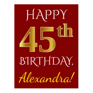 Red, Faux Gold 45th Birthday + Custom Name Postcard