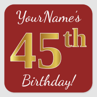 Red, Faux Gold 45th Birthday + Custom Name Sticker