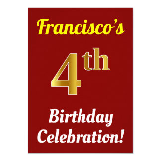 Red, Faux Gold 4th Birthday Celebration + Name Card