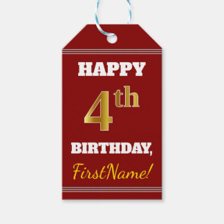 Red, Faux Gold 4th Birthday + Custom Name Gift Tags