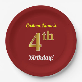 Red, Faux Gold 4th Birthday + Custom Name Paper Plate